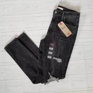 Levi's Black 721 High-Rise Skinny Distressed Jean